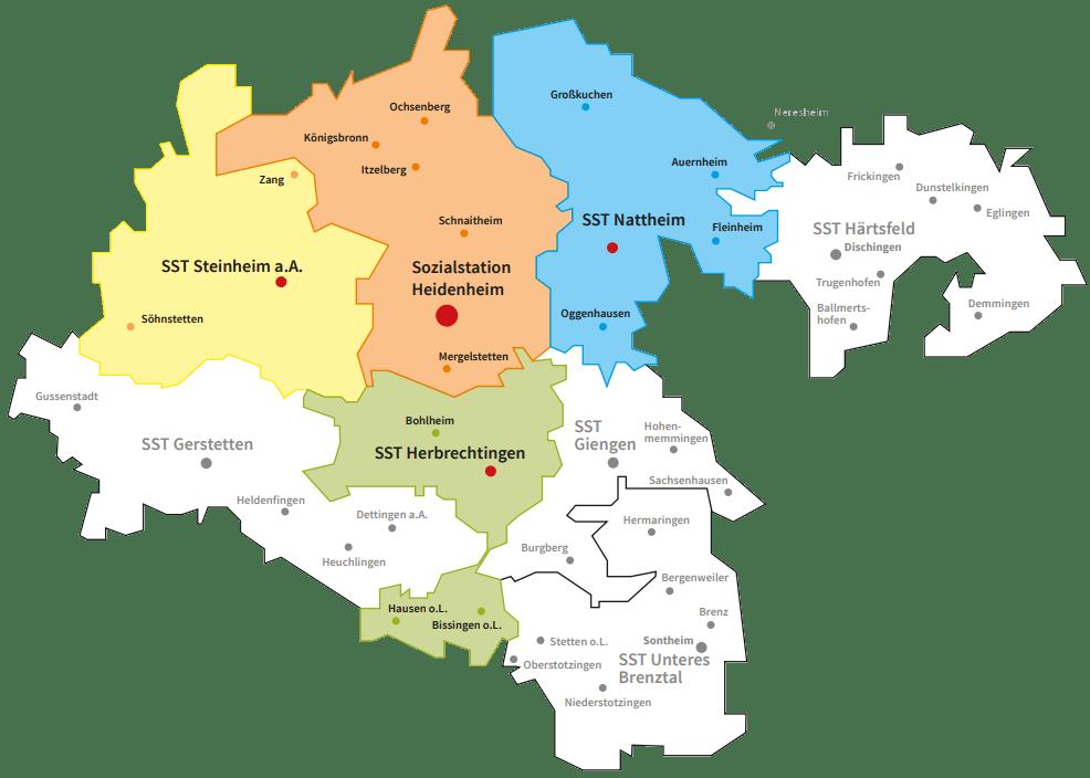 Ökumenische Sozialstation Heidenheimer Land – Betreuungsgebiete